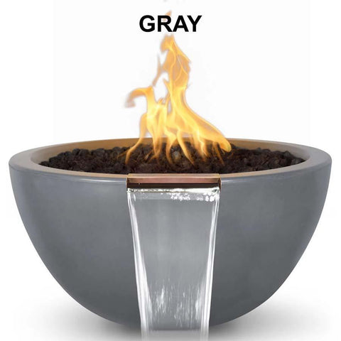 Top Fires Round Concrete Luna Fire and Water Bowl by The Outdoor Plus-Top Fires-30 Inch-Gray-Match-Lit-Kinetic Water Features