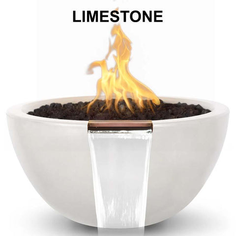 Top Fires Round Concrete Luna Fire and Water Bowl by The Outdoor Plus-Top Fires-30 Inch-Limestone-Match-Lit-Kinetic Water Features