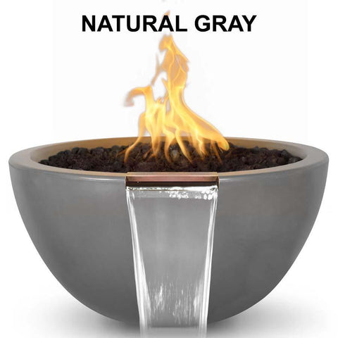 Top Fires Round Concrete Luna Fire and Water Bowl by The Outdoor Plus-Top Fires-30 Inch-Natural Gray-Match-Lit-Kinetic Water Features