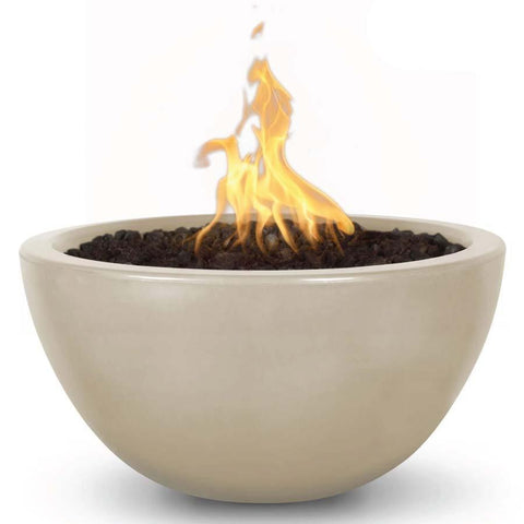 Top Fires Round Concrete Luna Fire Bowl by The Outdoor Plus-Top Fires-30 Inch-Vanilla-Match-Lit-Kinetic Water Features
