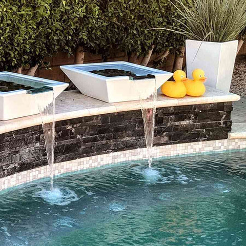 Top Fires Square Concrete Maya Water Bowl by The Outdoor Plus-Top Fires-Kinetic Water Features