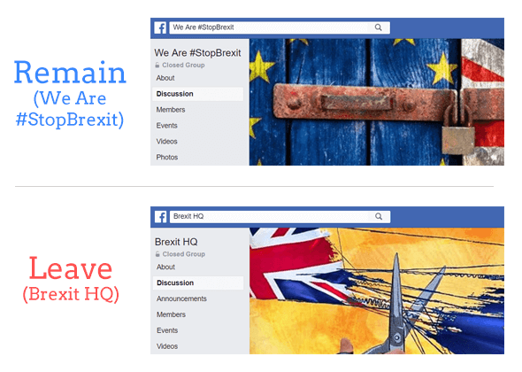 The two Facebook groups used in this analysis: 'Brexit HQ' and 'We Are #StopBrexit'