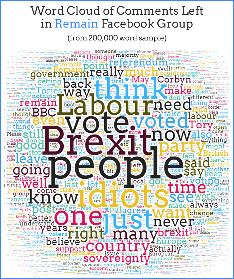 Word cloud of comments left in Remain Facebook Group