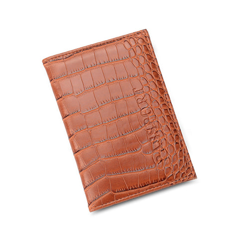 Embossed Vegan Crocodile Leather Passport Cover