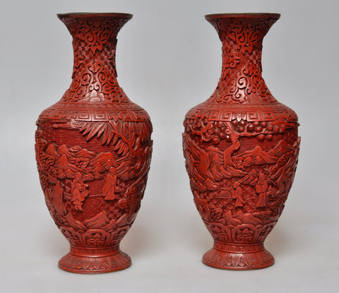Chinese carved cinnabar lacquerware, late Qing dynasty. Adilnor Collection, Sweden.