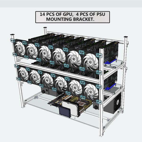 Stackable Computer Fame 14 Graphics Card GPU USB PCI-E Cable Computer Case BTC LTC Coin Mining Case Frame Server Chassis