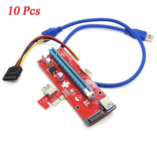 10Pcs/lot 60cm USB 3.0 PCI-E Express 1x to 16x Riser Card with Power Supply USB Extender Cable for Graphics for Bitcoin Miner#30