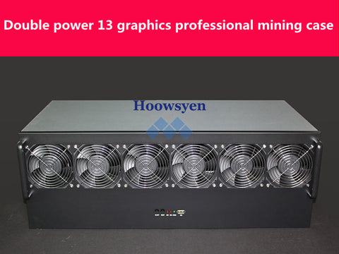 Riser mining case ETH/ETC/ZEC/XMR 4U mine mining machine chassis chassis 13 graphics server chassis Dual power supply