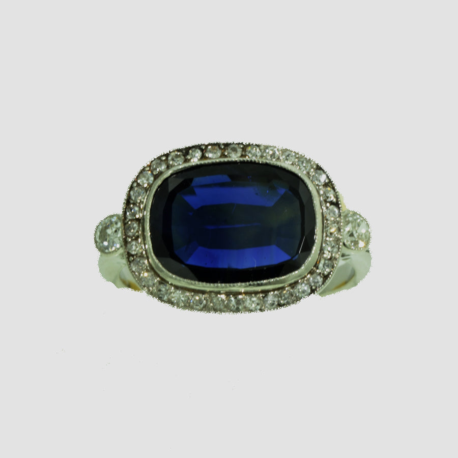 WLF-99 Antique Edwardian Platinum Sapphire annd Diamond Ring