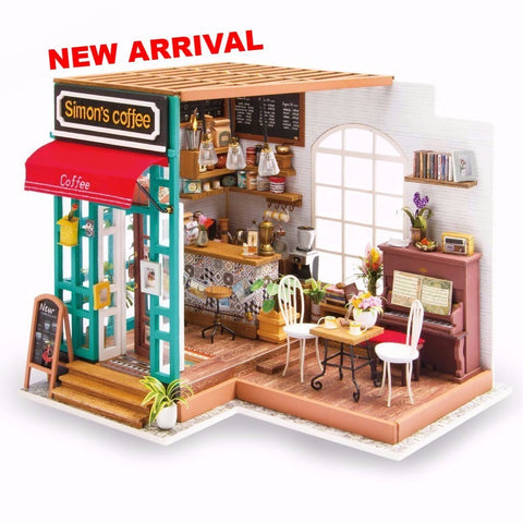Diy dollhouse kit adas studio with led light wooden dreamland diy dollhouse kit simons coffee solutioingenieria Choice Image