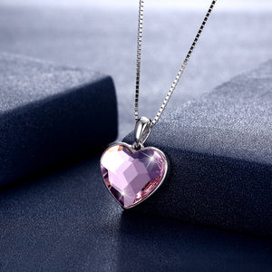 Sterling Silver Heart with Crystal Necklace Pink/Platinum Plated