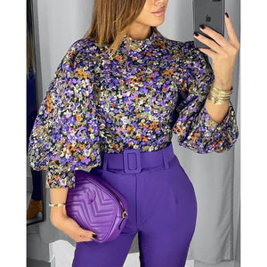 Vintage Women Blouse Floral Lantern Sleeve Top