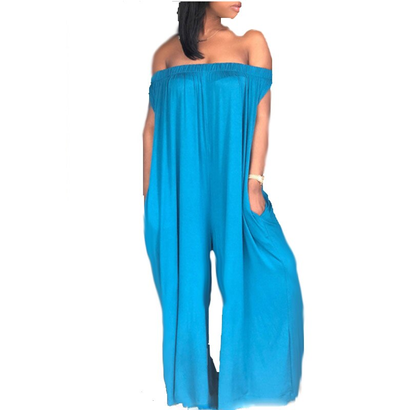Summer Plus Size Loose Women  One Shoulder Tube Top Jumpsuits