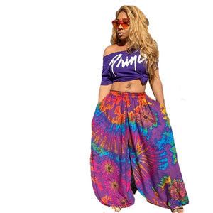 Summer Women Pants Leggings National Print  Stretch Loose Trousers