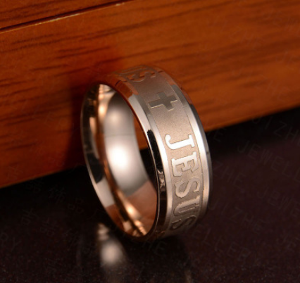 Religious Jesus Cross Stainless Steel Titanium Steel Ring