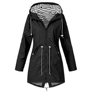 Women Spring Autumn Comfortable Coat Casual Fashion Jacket Women's Solid Rain Outdoor Jackets Waterproof Hooded Raincoat Windproof