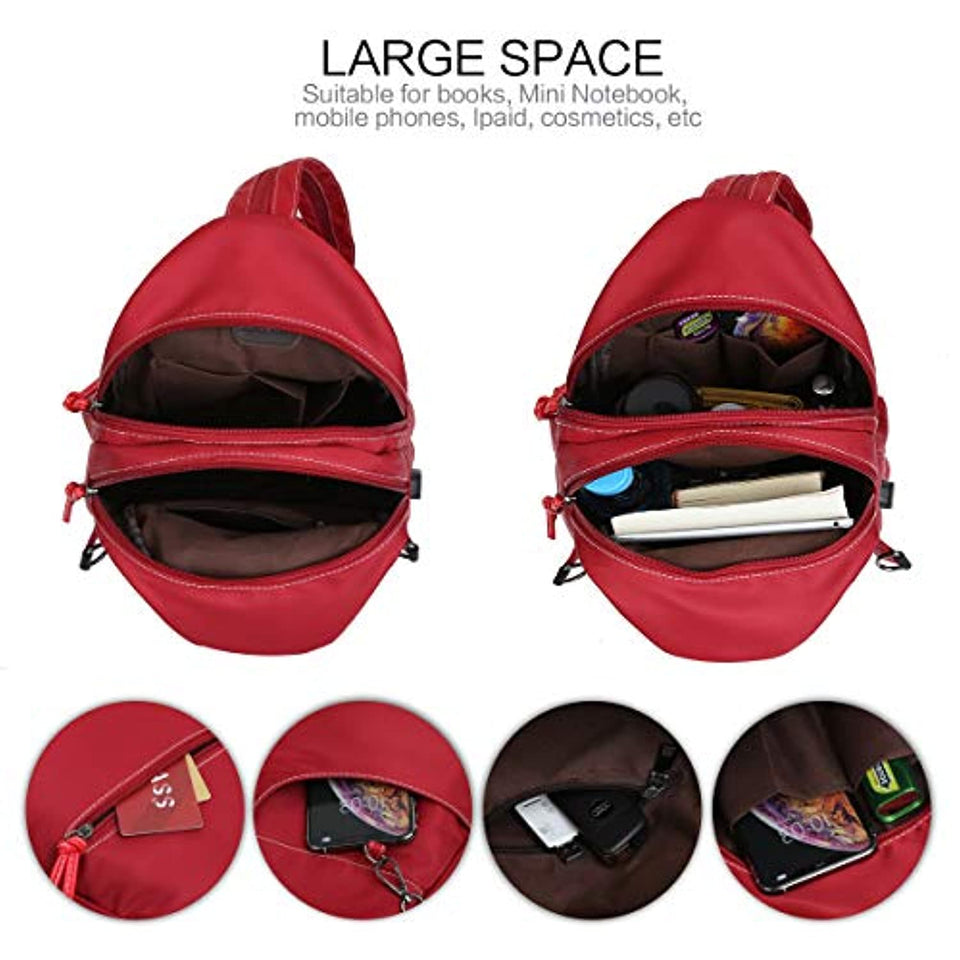 Women Backpack Shoulder Bags Nylon Chest Bag Casual Daypacks Crossbody Bag for Girl Multipurpose Bag Oxford Fashion Daypack Leisure Teenagers Everyday Printing (Red-1013)