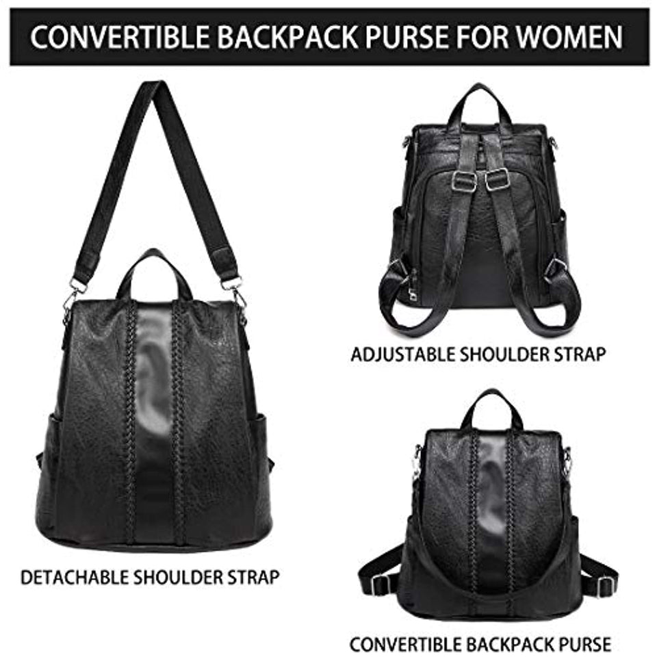 Women Backpack Purse, Fashion Faux Leather Anti-theft Backpack for Ladies School Bag with Vintage Weave