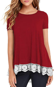 Womens Lace Tops Casual Crewneck Short Sleeve Blouse A-line Flowy Plain Tunic Tops Shirts