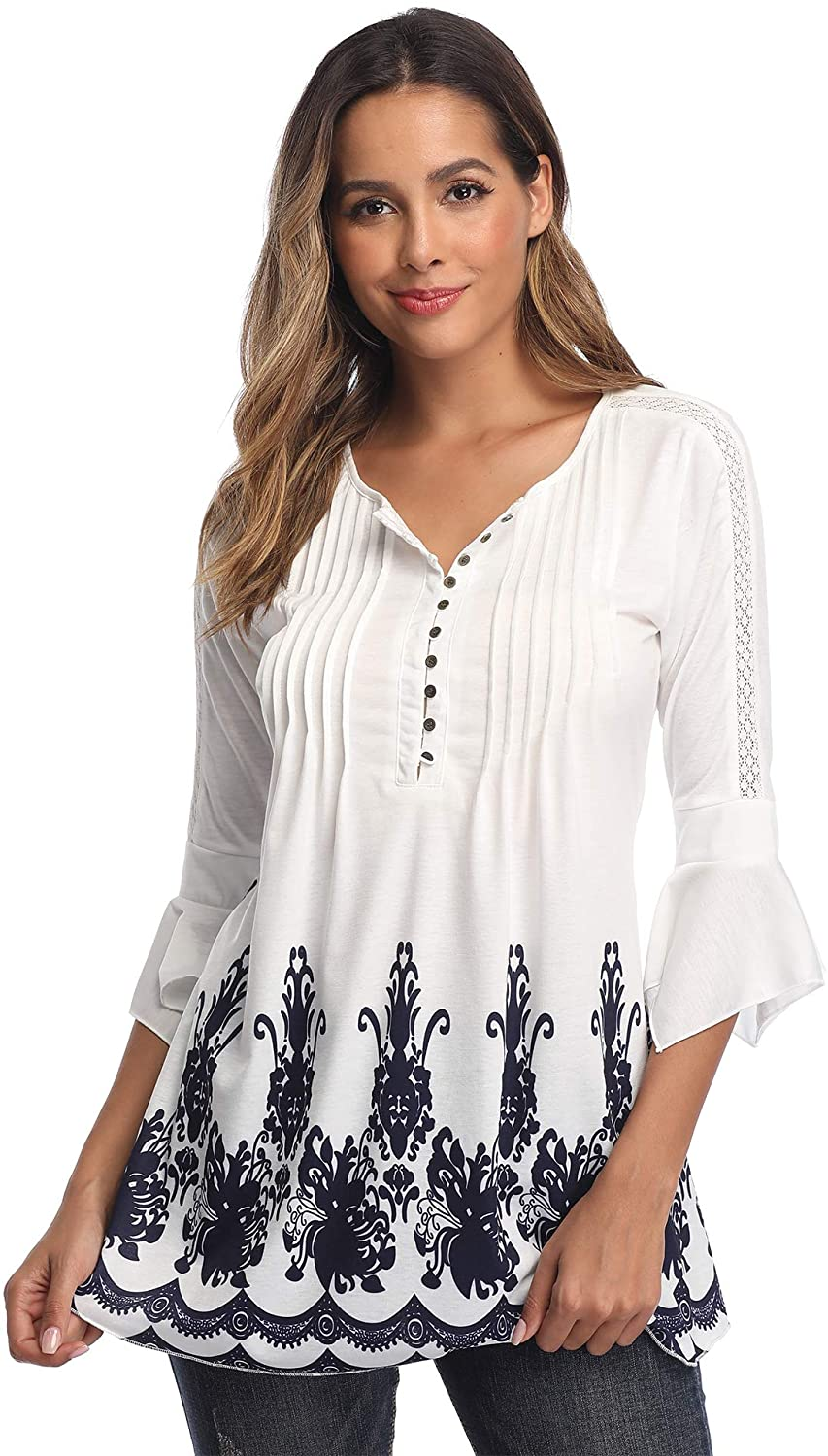 Women's Lace Tunic Tops Henley T Shirt Inset Blouse Casual V Neck 3/4 Bell Sleeve Shirts