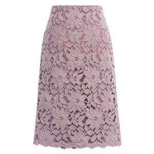 Summer >legant Plus Size A Line Knee Length Lace  Midi Skirt