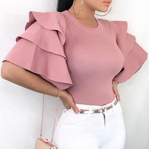 Sexy Women Multi Layer Ruffle Wide Sleeve T-Shirt Casual Slim Solid Top Shirt Summer Streetwear