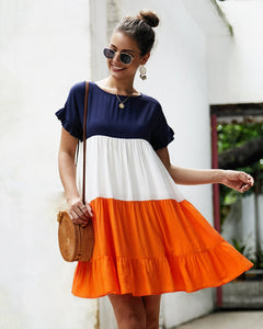 Summer Women's Color Contrast Patchwork Dress
