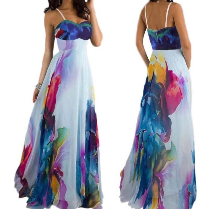 Women's Sling Bandeau Strapless Digital Print Dress