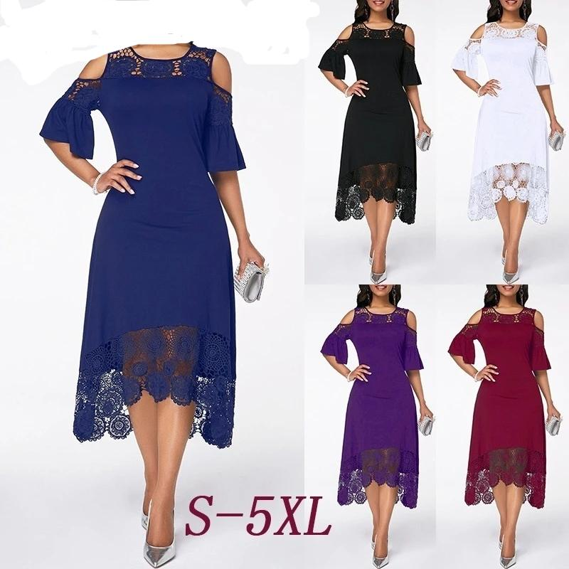 Women Lace Floral Flower Dress Plus Size