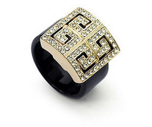 Women  Italina Geometric Crystal  Rings