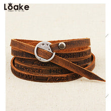 Loake Han edition Korea fashion simple bracelet Five laps to wipe the ancient real cowhide bracelet word bracelet accessories wh