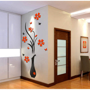 3D Flower Beautiful DIY Mirror Wall Stickers