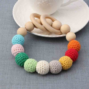 Natural Round Wood Teething Bracelet for Babies