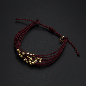 Leather, bead charm friendship bracelet