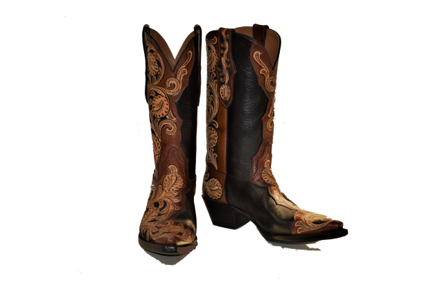 Ladies Hand Tooled Black & Brown Ranch