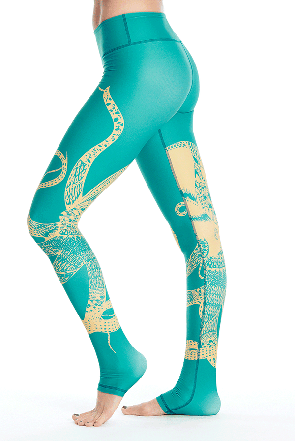 Nautilus Ankle Leggings - Teal/Gold