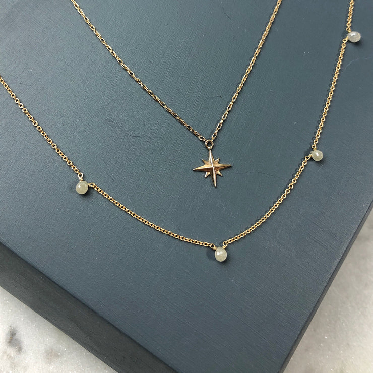 One of a Kind - 5 Diamond Briolette Necklace