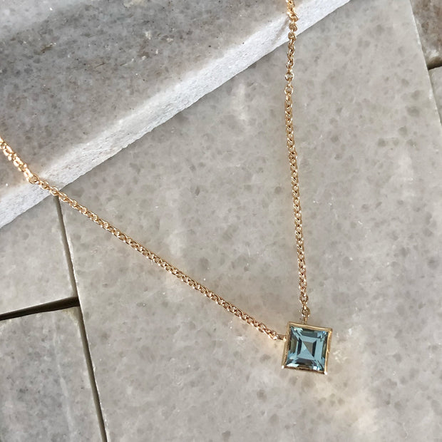 Ellie Square Necklace - 14k Yellow Gold with Sky Blue Topaz