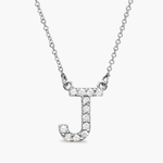 Silver Diamond Initial Necklace