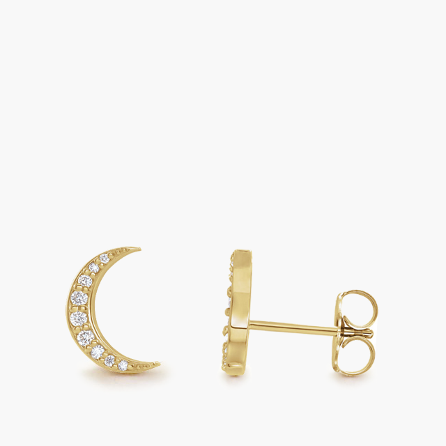 Diamond Crescent Moon Studs