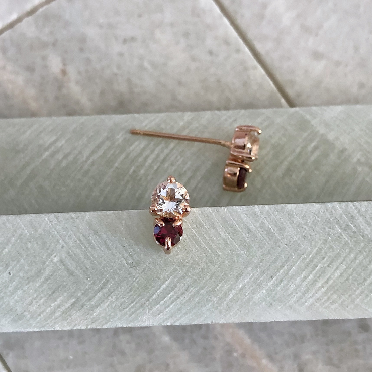 Duo Gemstone Earrings - 14k Rose Gold, Garnet, & Topaz