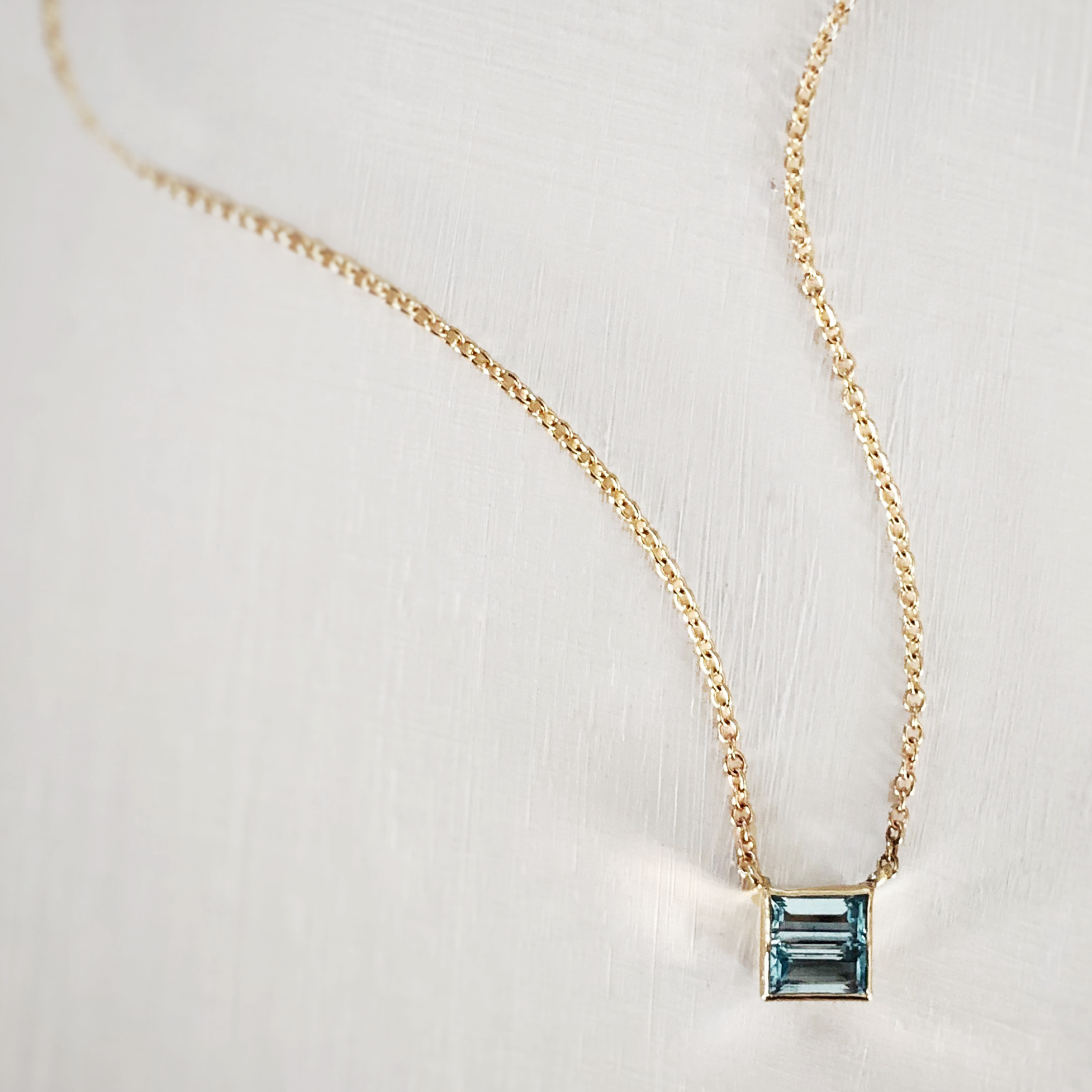 Ellen Square Necklace - 14k Yellow Gold with Blue Topaz