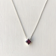 Ellie Square Necklace - Sterling Silver with Rhodolite Garnet