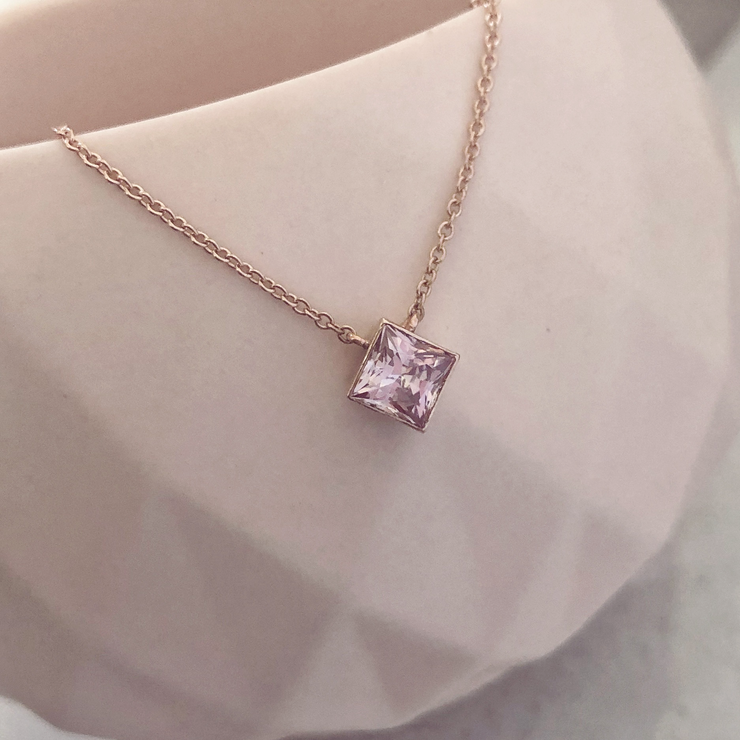 Ellie Square Necklace - 14k Rose Gold with Morganite