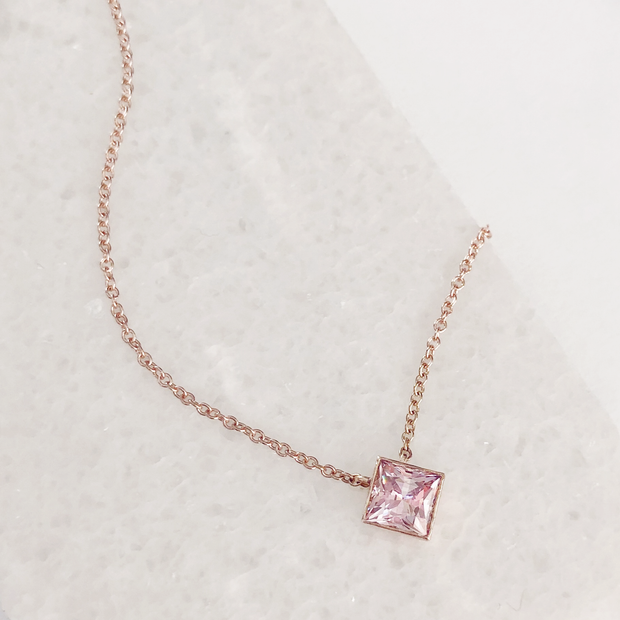 Ellie Square Necklace - 14k Rose Gold with Pink Quartz