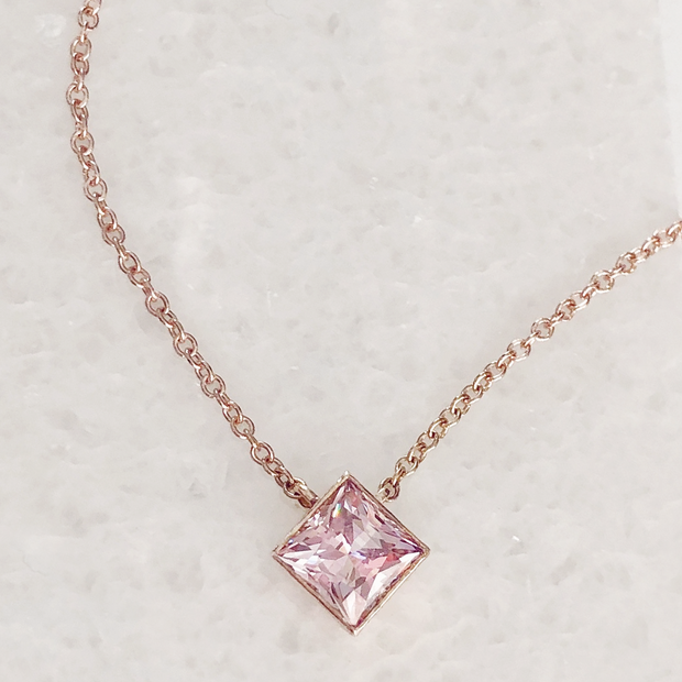 Ellie Square Necklace with Morganite