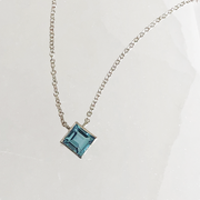 Ellie Square Necklace - Sterling Silver with Swiss Blue Topaz
