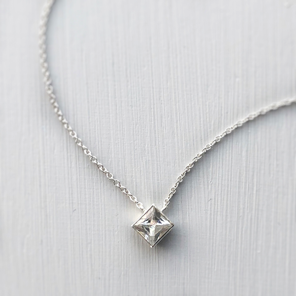 Ellie Square Necklace - Sterling Silver with White Topaz