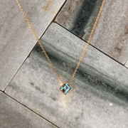 Ellie Square Necklace with Sky Blue Topaz