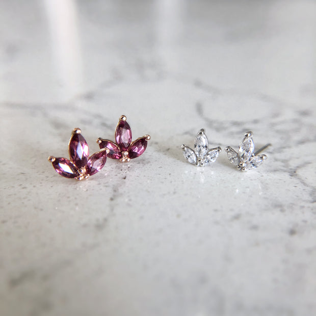 Ivy Leaf Gemstone Earrings - 14k Rose Gold & Garnet